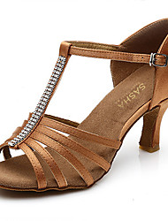 Non Customizable Women's Dance Shoes Satin Satin Latin Heels Chunky Heel Beginner / Performance Black / Brown