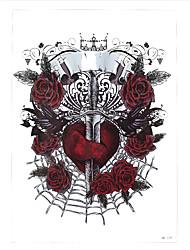 1pc Women Men Diy Tattoo Sword Crown Heart Bird Rose Flower Back Body Art Temporary Tattoo Sticker HB-129
