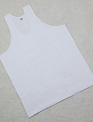 Men's Solid Plus Sizes Tank Tops,Cotton Sleeveless-White