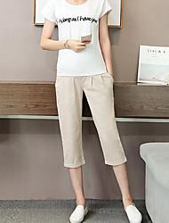 Pantalones Maternidad Chinos Simple Elástico-Algodón