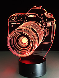 Novelty 3D Acrylic Entertainment Camera Illusion LED Lamp USB Table Light Rgb Night Light Romantic Bedside Decortion Lamp
