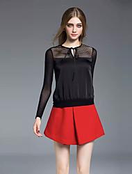 Joj femmes sortir / travaillent simple ressort shirtsolid col rond manches longues rayonne noir opaque