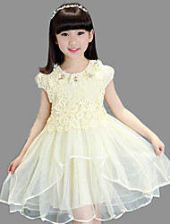 A-line Knee-length Flower Girl Dress - Cotton / Lace / Tulle Short Sleeve Jewel with Appliques / Flower(s)