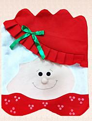 cubierta de la silla no tejida de Navidad la señora Señora de Santa Claus suministros 1pc decoración bowknot partido