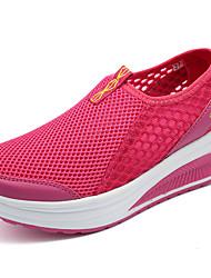 Damen-Loafers & Slip-Ons-Lässig-Tüll-Flacher Absatz-Rundeschuh / Flache Schuhe-Rot / Grau