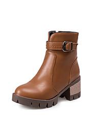 Women's Boots Fall / Winter Fashion Boots Leatherette Dress Chunky Heel Zipper Black / Yellow / Gray Walking