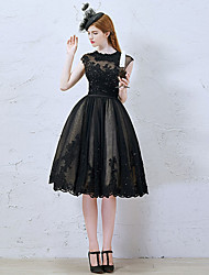 Cocktail Party Dress - Little Black Dress A-line Jewel Knee-length Lace / Tulle with Appliques / Beading / Lace / Sequins