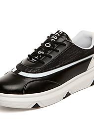 Herren-Sneaker-Lässig-PU-Flacher Absatz-Komfort-Schwarz / Rot / Weiß