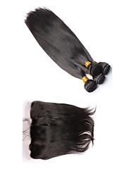 Trama do cabelo com Encerramento Cabelo Peruviano Retas 12 meses 4 Peças tece cabelo