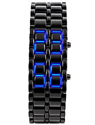 Hombre Reloj de Moda Reloj creativo único Reloj de Pulsera Digital LED Calendario Silicona Banda Brazalete Negro PlataPlata Negro/Rojo