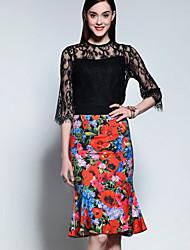 mary yan& yu mulheres saindo set verão sofisticado, gola de impressão ½ comprimento da manga de poliéster preta fina