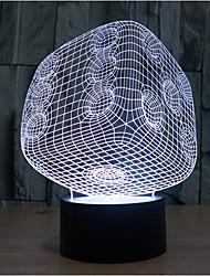 кости касания затемнением 3D LED ночь свет 7colorful украшения атмосфера новизны светильника освещения свет рождества