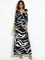 Women's Party/Cocktail A Line Dress,Print V Neck Maxi Long Sleeve Red / Black / Yellow Polyester Fall