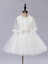 A-line Watteau Train Flower Girl Dress - Satin / Tulle Long Sleeve Jewel with Bow(s) / Lace