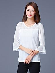 Mulheres Blusa Casual / Tamanhos Grandes Simples Outono,Sólido Vermelho / Branco Poliéster Decote Redondo Manga ¾ Média