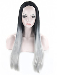 "Grey Ombre Wig False Hair Synthetic Wigs For Black Women 26"" Long Straight Natural Cheap Hair Kylie Jenner Gray Wig"