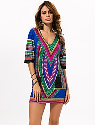 In Colour Women's Deep V 1/2 Length Sleeve Mini Dress-6516