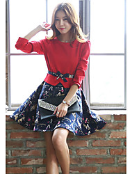Women's Geometric Red Skirts,Simple Above Knee