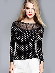 BOMOVO® Femme Col Arrondi Manche Longues T-shirt Noir-B16QAC7