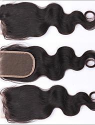 8''-24'' Черный Изготовлено вручную Прямые Человеческие волосы закрытие Умеренно-коричневый Швейцарское кружево 35-45g грамм Средние
