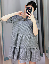 Women's Going out / Cute Loose Dress,Check Round Neck Above Knee Short Sleeve Black Cotton Summer
