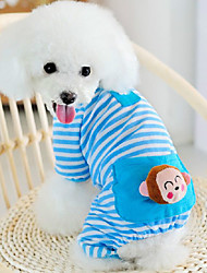 Cat Dog Clothes/Jumpsuit Pajamas Dog Clothes Cute Casual/Daily Cartoon Yellow Blue Blushing Pink