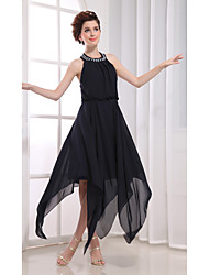 Cocktail Party Dress Sheath / Column Halter Asymmetrical Chiffon with Beading