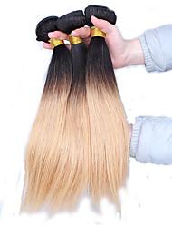 Âmbar Cabelo Peruviano Retas 12 meses 3 Peças tece cabelo