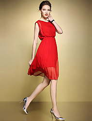 Women's Plus Size / Casual/Daily Simple Chiffon Dress,Solid Round Neck Knee-length Sleeveless Red / Black Polyester