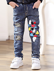 Boy's Cotton Spring/Autumn Fashion hole Jeans Colored Spots Elasticity Denim Pants
