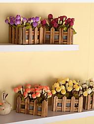 1 1 Ast Kunststoff Rosen Tisch-Blumen Künstliche Blumen 6.2*5.5inch/16*14cm