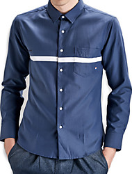 Men's Solid Casual / Work / Formal / Sport / Plus Size Shirt,Cotton Long Sleeve Blue / White / Gray