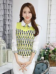 Mulheres Camisa Casual Simples Primavera,Geométrica Amarelo Algodão Colarinho de Camisa Manga Longa Média