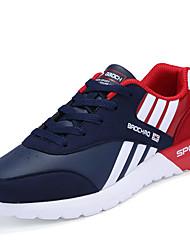 Masculino-Tênis-Conforto-Rasteiro-Vermelho Preto e Vermelho Preto e Branco-Couro Ecológico-Casual