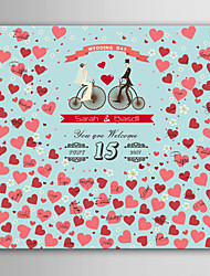 E-HOME®  Personalized Signature Canvas invisible Frame Print - The Bride And Groom On A Bicycle