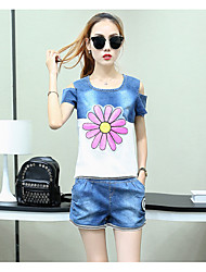 Women's Going out Cute Summer Set,Solid Round Neck Short Sleeve Pink Cotton / Polyester Medium