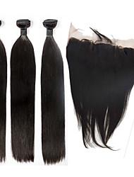 Trama do cabelo com Encerramento Cabelo Indiano Retas 6 meses 4 Peças tece cabelo