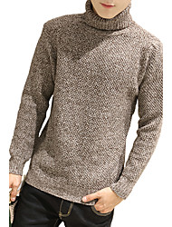 Men's Korean Slim High Collar Thicker Knitted Pullovers,Wool / Cotton Long Sleeve Brown / Gray