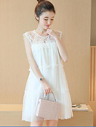 Maternity Going out Simple Loose Dress,Solid Round Neck Above Knee Sleeveless White Polyester Summer