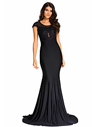 Women's  Lace Embroidered Floor Length Party Gown
