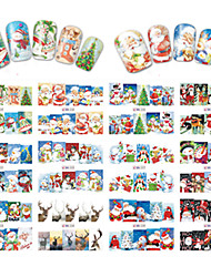 12 Designs Nail Art Stickers Beautiful Christmas Image Red Santa Claus Snowman Nail Beauty BN229-240