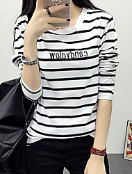 Women's Casual/ Simple Fall T-shirt,Striped / Letter Round Neck Long Sleeve White / Black Cotton Medium
