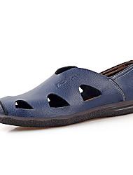 Men's Sandals Summer Closed Toe / Sandals Leather Outdoor Flat Heel Others Black / Blue / Brown Walking