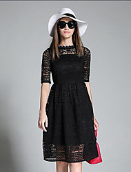 Women's Casual/Daily Simple A Line / Lace Dress,Solid Crew Neck Knee-length ½ Length Sleeve Pink / Red / White / Black