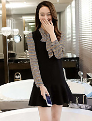 Women's Casual/Daily Simple Little Black / Two Piece Dress,Solid / Print Asymmetrical Above Knee Short Sleeve Black