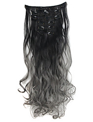 Two Tone Ombre Hair Clip in Hair Extensions Wavy Curly Dip Dye Clip in Ombre Hair Extensions Omber Black To Grey Hair