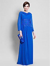 Lanting Bride Sheath / Column Mother of the Bride Dress Floor-length Long Sleeve Chiffon with Appliques