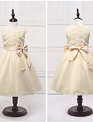 Ball Gown Tea-length Flower Girl Dress - Organza / Satin Sleeveless Jewel with Bow(s) / Flower(s)