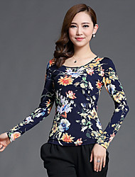 Women's Casual/Daily Simple Fall Blouse,Floral Round Neck Long Sleeve Black / Orange Nylon Medium