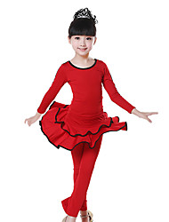 Children's Training Milk Fiber Ruched 2 Pieces Culottes Long Sleeve Natural Top / Pants Latin Dance Outfits